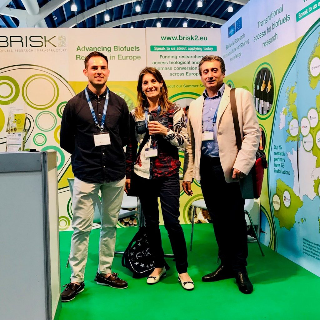 Pictured at EUBCE 2019 in Lisbon: Aston University PhD student Joseph Socci with Nadia Cerone and Francesco Zimberdi from BRISK2 Partner, ENEA.